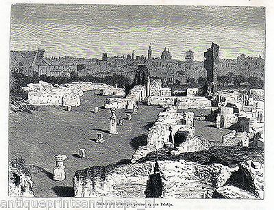 Antique print Palatine Hill palace ruins Rome Italy 1872 stampa antica Roma