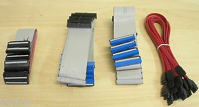 Lot 25 PC Data Cables Pack: Computer SATA/ IDE PATA DMA 133 HDD/ Floppy Drive FD