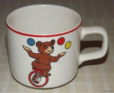 Vintage Childs Cup with Monkey Eating Banana and Bear Riding a Unicycle - Japan