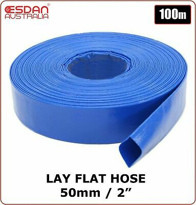 "PVC Lay flat water pump irrigation discharge hose 2"" 50mm x 100m Blue ESDAN"