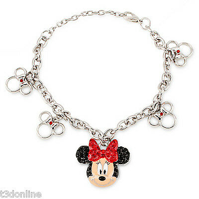Disney Mickey Mouse Clubhouse Minnie Mouse Rhinestone Pendant Bracelet New