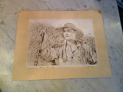 Vintage Willy Seiler Signed Etching Print Japanese Rice Farmer w/ Cover Sheet