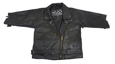 Plain Leather Baby Biker Toddler Brando Motorcycle Motorbike Fashion Jacket - T