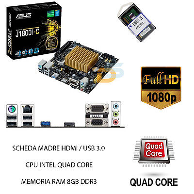 Scheda Madre Hdmi Usb 3.0 + Cpu Processore Intel Quad Core + Ram 8Gb Bundle