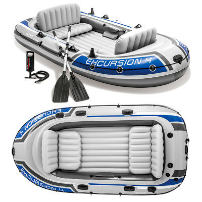 Schlauchboot Set Excursion 4 + Paddel + Pumpe Angelboot für 4 Personen von INTEX
