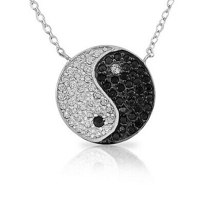 Sterling Silver Womens Classic Yin Yang White Black Crystals CZ Pendant Necklace