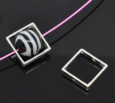 Wholesale HOT! Jewelry Bead Frames Square Silver Plated 20x20mm