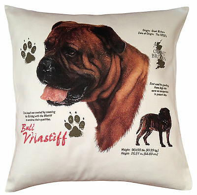 Bullmastiff History Breed of Dog Cotton Cushion Cover - Perfect Gift