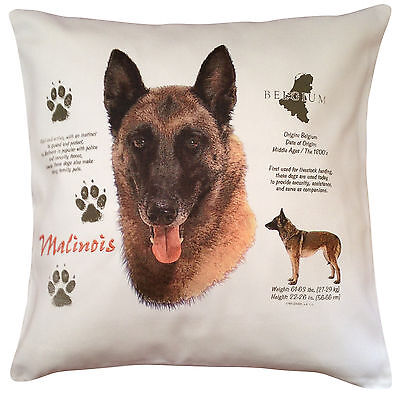 Belgian Malinois Sheepdog History Breed Dog Cotton Cushion Cover - Perfect Gift