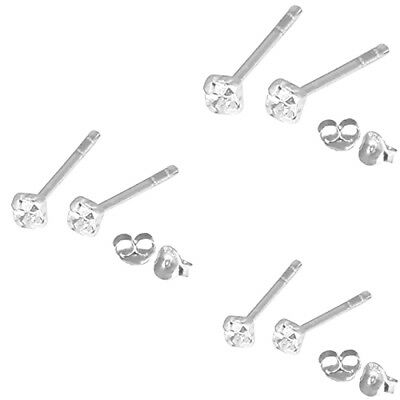 STERLING SILVER 925 CLEAR CRYSTAL STUD EARRINGS TINY CLAW SET  1.5mm 2mm 2.5mm