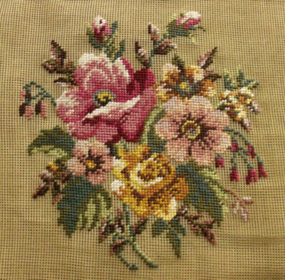 """Antique 27"""" Vtg PREWORKED Needlepoint Canvas - SHABBY Gold Pink RSOES Bouquet"""