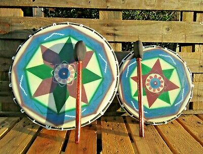Fair Trade Hand Made Wooden Painted Native American Shamanic Shaman Drum 32 42cm