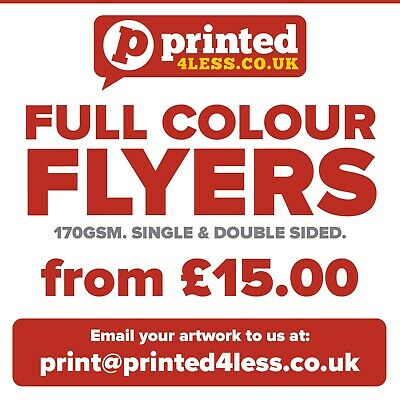 Flyers A4 A5 A6 A7 Dl 170Gsm Printed Full Colour Single Double Sided 500 1000