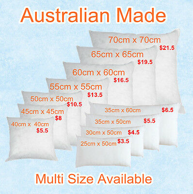 Aus Made NEW Cushion Inserts Premium Polyester Fibre Filling(Multi Size Choice)