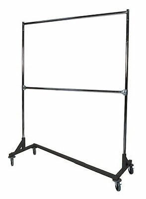 Double Heavy Duty Z Base Rack Garment Clothes Stand Clothing Rack Hanger Holder