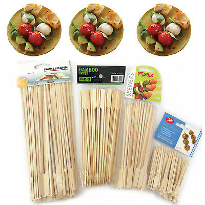 Wooden Bamboo Skewers BBQ Grill Shish Kebab Fruit Fondue Sticks Paddle Barbecue