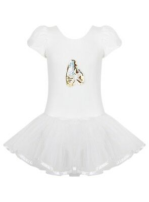 White Toddler Girls Ballet Sequin Tutu Leotard Dance Ballerina - Age 2/8 yrs
