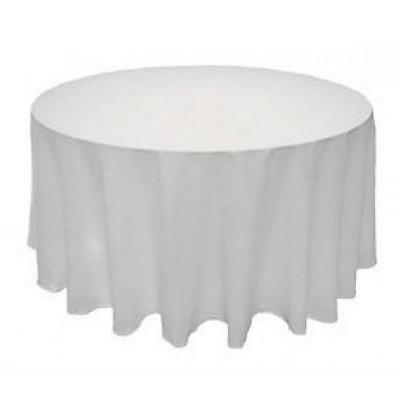 """Tablecloth Table Cover White Round Satin for Banquet Wedding Party Decor 90"""""""