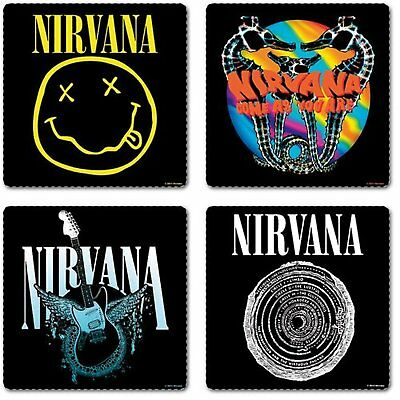 Nirvana 4 Drinks Coaster Set 4 Album Covers Logo Fan Gift Box CD Kurt Official