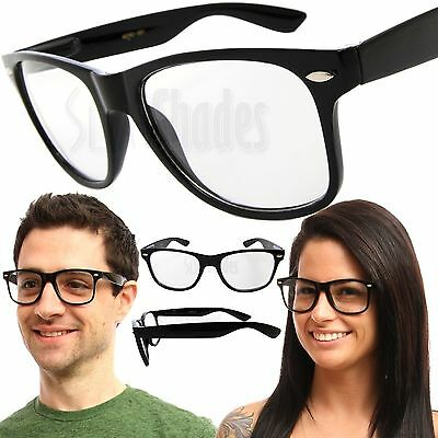 Clear Lens Black Frame Unisex Glasses NERD GEEK Classic Retro Vintage Style New