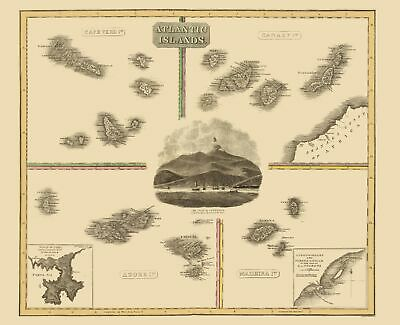 Old Atlantic Islands Map - Cape Verde, Canary, Madeira, Azore 1814 - 23x28