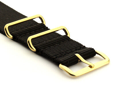 Black Nato G10 Nylon Watch Strap Band Gold Buckle 18 20 22 24 Military Army MM