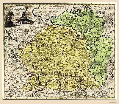 Old Eastern Europe Map - Lithuania - Lotter 1700 - 23 x 26.38