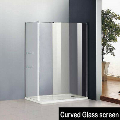 1400 x 800mm Walk In Shower Enclosure Curved Glass Screen Side Panel+Stone Tray2