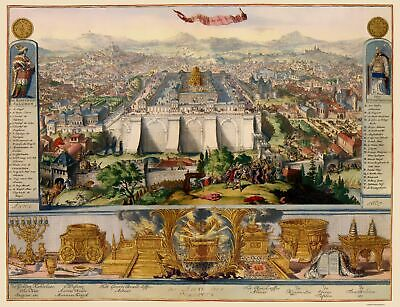 Old Israel Map - Jerusalem and Temple Mapbook Picture - 1687 - 23 x 29.99