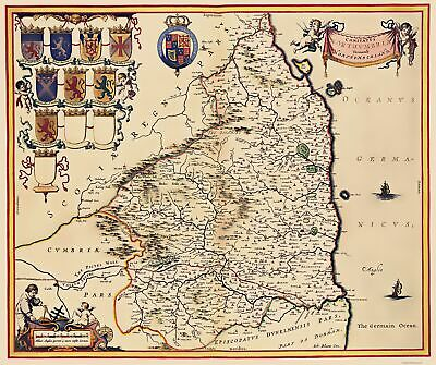 Old Great Britain Map - Northumberland County, England - Bleau 1645 - 23 x 27.48