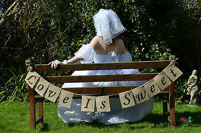 Love Is Sweet Hessian Bunting Banner Wedding Vintage  Party Rustic Photo Props