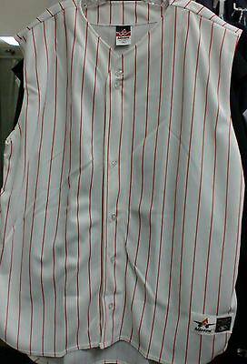 514635f72cd6 ADULT SLEEVELESS Baseball Jersey- Pinstripe (WHITE / RED) - $13.99 ...