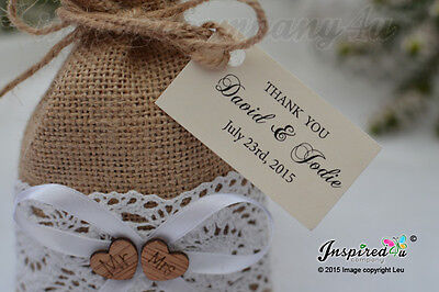 25 x Personalized Tags Burlap Favor Bags Cotton Lace Wooden Mr Mrs Heart Wedding
