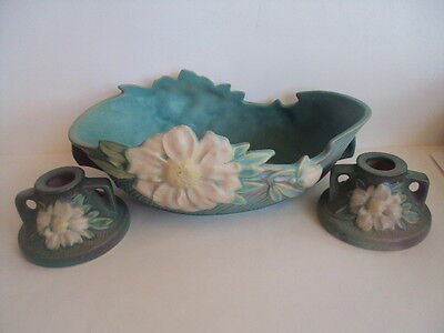 Vintage Original Roseville Peony Console Set wBowl and Pair Candlestick Holders