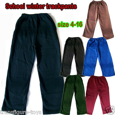 School Uniform fleece PANTS unisex 5-16 green maroon brown royal blue black Navy