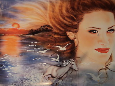 ART POSTER~Dreams Anne Didelot 2001 Horse Woman Crying Sunset Full Size Print~