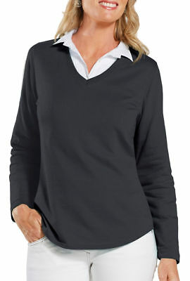 LAT Women's New Terry Taped Long Sleeve V Neck Tail Bottom Pullover. L3761