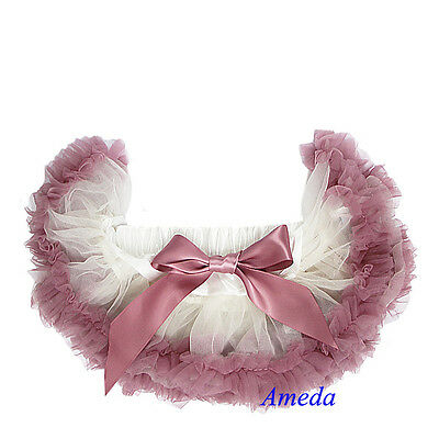 Newborn Baby Cream Ivory Dusty Pink Ruffles Pettiskirt Tutu Photo Prop NB-6M