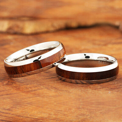 Stainless Steel Wood Ring Black Tone Wooden Rings For Men and For Women Unisex