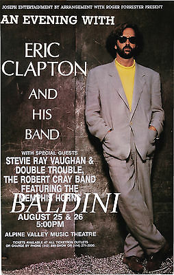 Eric Clapton -High Quality Early Vintage 1990 Concert Poster, Looks Great Framed