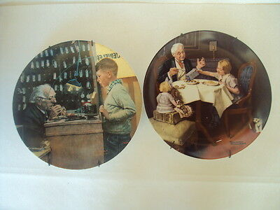 Vintage Norman Rockwell Pair of Collectors Plates With Certificate. Excellent!