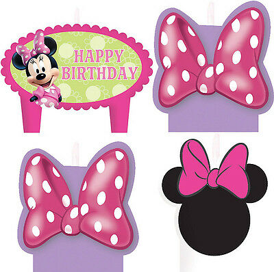 Minnie Mouse Birthday Party Supplies Candle Mini Moulded Pack Of 4