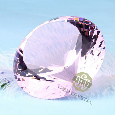 Huge 80mm Crystal Pink Paperweights Cut Glass Large Giant Diamond Jewelry Gifts
