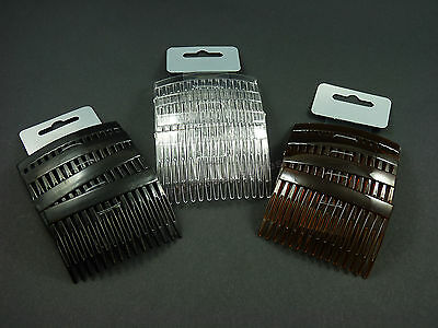 4 pack of Clear Grip Hair Combs Slides 7cm with Diamontie Diamante effect