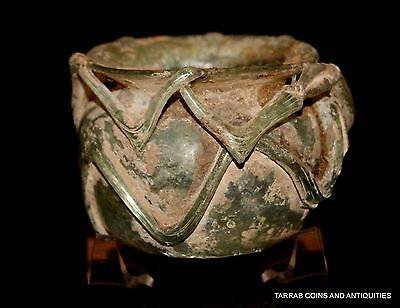Ancient Roman Green Glass Jar  100 B.c. - 200 A.d.! Nice Decoration!
