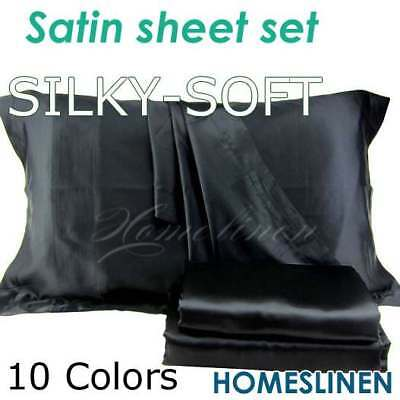 Satin Silky King/Queen/Double/Single/KS Size Fitted Flat Pillowcase Sheet Set