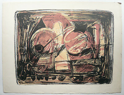 Belle LITHOGRAPHIE Ancienne par ROGER EDGAR GILLET 1956 Composition