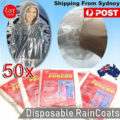 50x Disposable Ponchos Emergency Rain Coat Adult Raincoat business wholesale