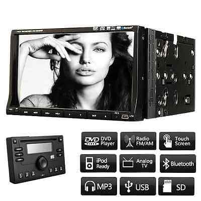 """7"""" Double 2 Din In Dash Car Radio Stereo DVD Player Bluetooth Touch Screen+Panel"""