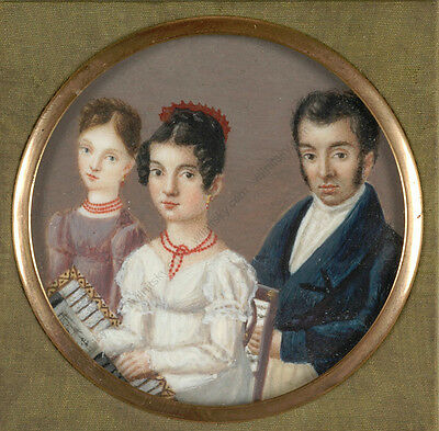 "Xaver Franz Milz (1765-1833)-? ""Traveling case with family portrait"", 1820s"